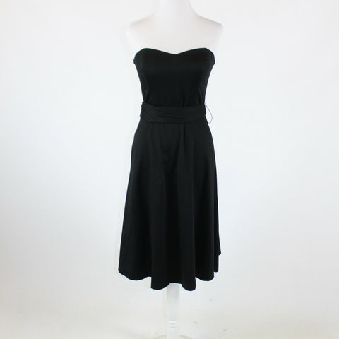 Black cotton blend WHITE HOUSE BLACK MARKET strapless belted waist dress 4