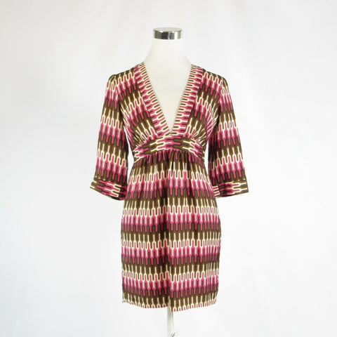 Brown pink geometric 100% silk MILLY 3/4 sleeve A-line dress 4-Newish