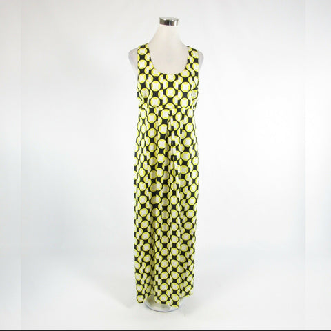 Midnight blue yellow geometric cotton blend ELLEN and OLLIE maxi dress 10-Newish
