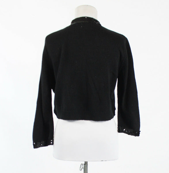 Black ECHO 3/4 sleeve open front cropped sequin trim swing sweater M L-Newish