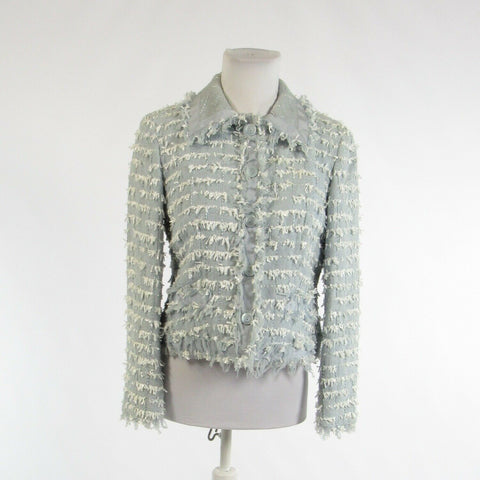 Light blue white textured cotton blend WORTH long sleeve blazer jacket 6P-Newish