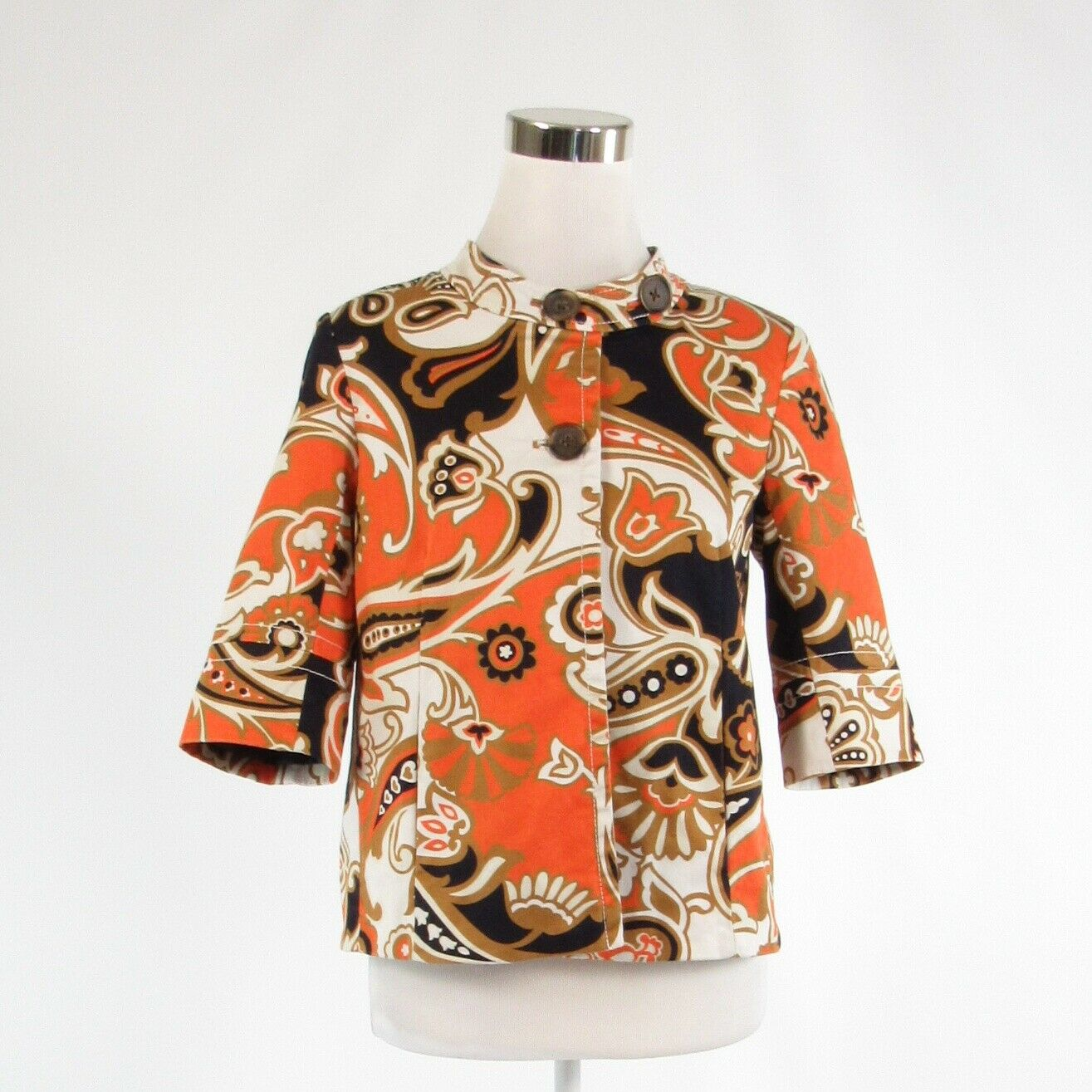 Orange white floral print cotton blend J. CREW 1/2 sleeve jacket 4-Newish