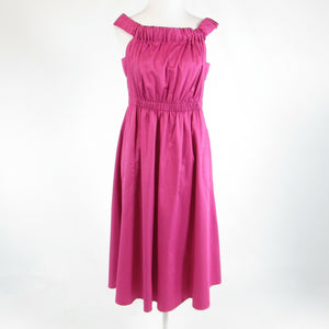 Dark pink 100% cotton ANTHROPOLOGIE MAEVE stretch sleeveless A-line dress M
