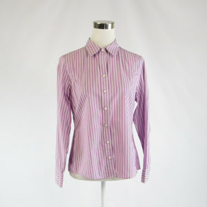Lavender purple white striped BANANA REPUBLIC button down blouse 10P-Newish