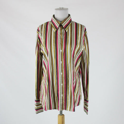 Pink green white yellow striped cotton NEW YORK and COMPANY button down blouse XL