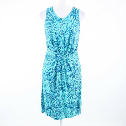 Turquoise blue cheetah BANANA REPUBLIC Issa London sleeveless sheath dress 6-Newish