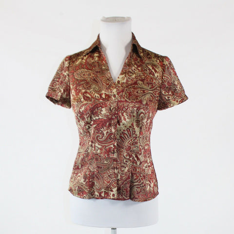 Beige red paisley ANN TAYLOR LOFT short sleeve button down blouse 2P