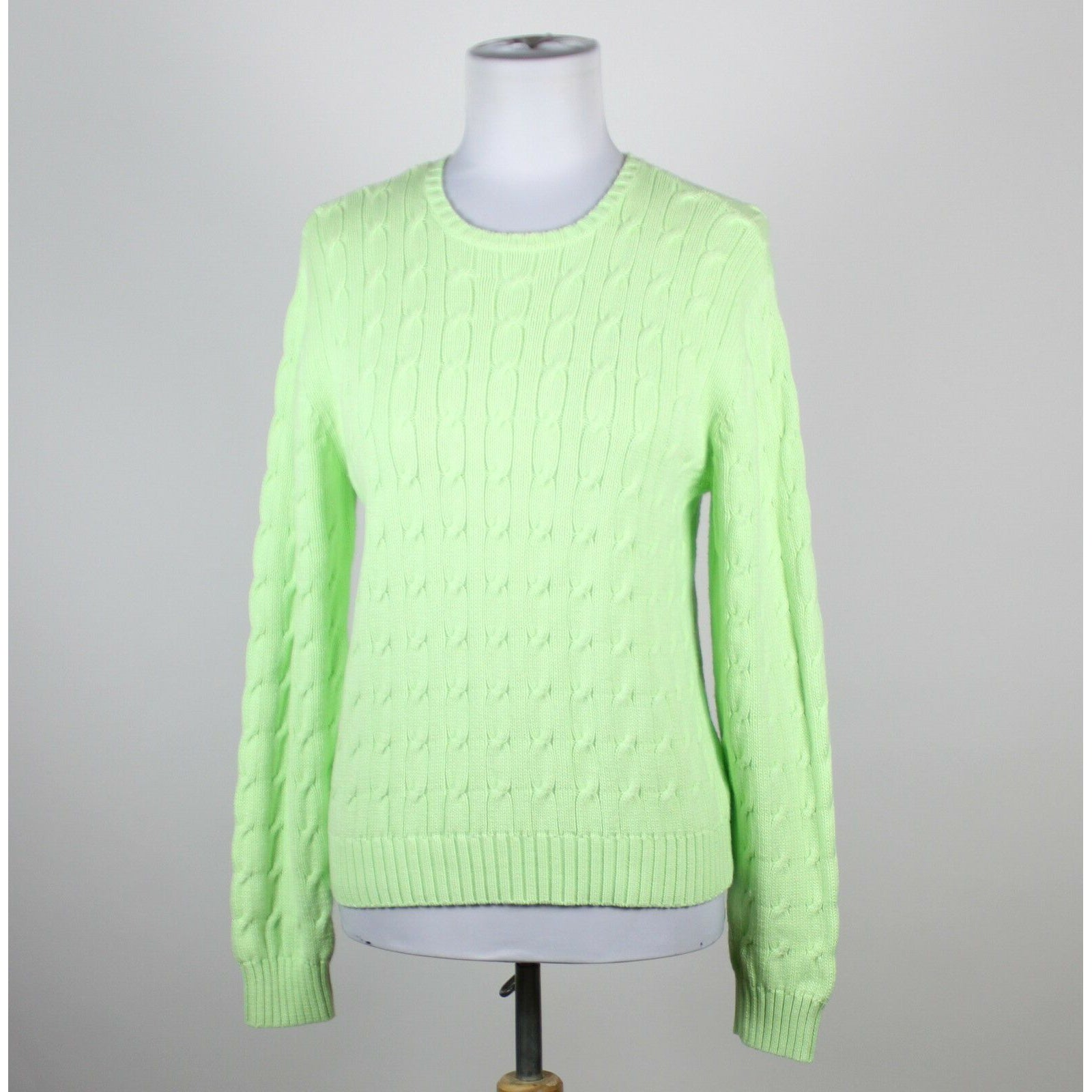 KAY LEIGH DESIGNS light green cotton long sleeve crewneck cable knit sweater S-Newish