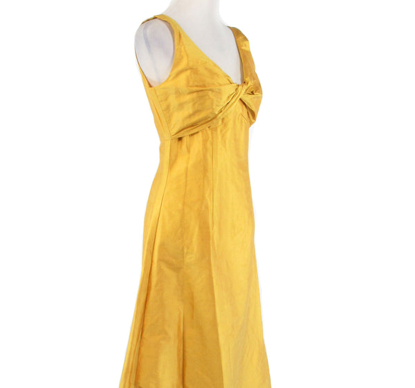 Mustard yellow DESIGNS BY DIANA DALLAS sleeveless vintage hi-lo dress S