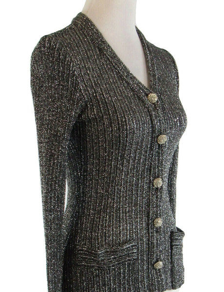 Black silver MOLLIE PARNIS BOUTIQUE shimmery vintage cardigan sweater XS