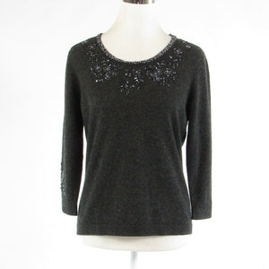 Charcoal gray 100% cashmere VALERIE STEVENS beaded 3/4 sleeve crewneck sweater M