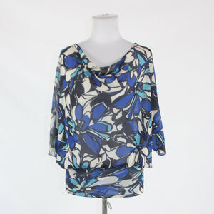 Blue ivory black floral NEW YORK and COMPANY kimono sleeve draped neck blouse M