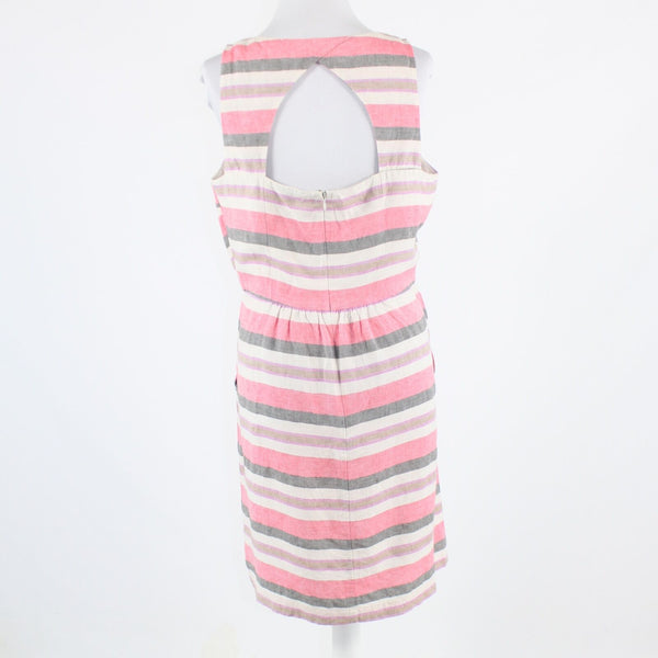 Ivory pink striped linen blend ANN TAYLOR LOFT sleeveless sheath dress 10