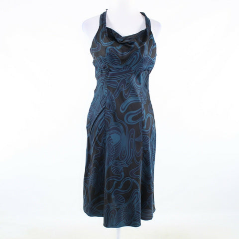 Black blue paisley 100% silk KENNETH COLE NEW YORK sleeveless sheath dress 6