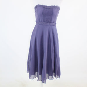 Purple cotton blend J. CREW pleated skirt strapless A-line dress 8