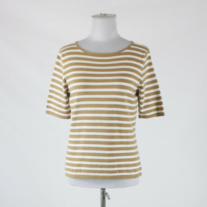 Light brown white striped cotton blend TALBOTS short sleeve blouse S