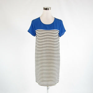 Ivory black striped 100% silk JOIE short sleeve shift dress XS-Newish