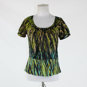 Olive green black geometric THE LIMITED cap sleeve black rhinestone trim blouse