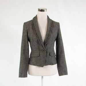 Black ivory herringbone wool blend BANANA REPUBLIC long sleeve blazer jacket 2P