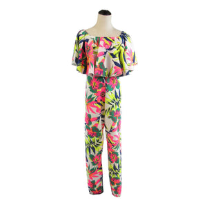Multicolor floral sleeveless stretch off-shoulder vintage jumpsuit 14 S