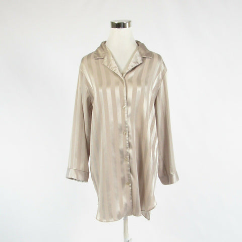 Beige striped HALSTON 3/4 sleeve button down blouse M-Newish