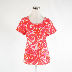 Orange red pink geometric 100% cotton SKIRTIN AROUND short sleeve blouse 6-Newish