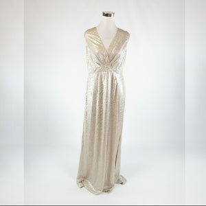 Metallic gold textured shimmery ANNE KLEIN stretch sleeveless maxi dress 8