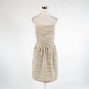 Light beige taupe uneven striped linen blend BANANA REPUBLIC A-line dress 14