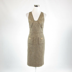 Cool brown beige cotton blend OSCAR DE LA RENTA sheath dress 4