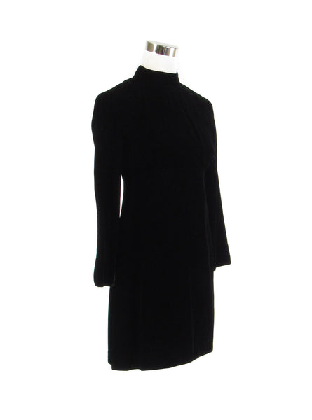 Black velvet long sleeve rhinestone trim vintage dress S