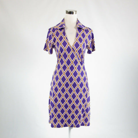 Purple yellow white diamond TRACY NEGOSHIAN stretch short sleeve wrap dress S