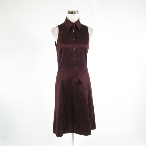 Dark purple cotton blend ARMANI Collezioni sleeveless A-line dress 8-Newish