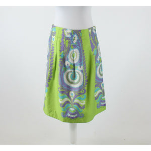 Green purple paisley 100% cotton WE LOVE VERA pleated waist A-line skirt 6