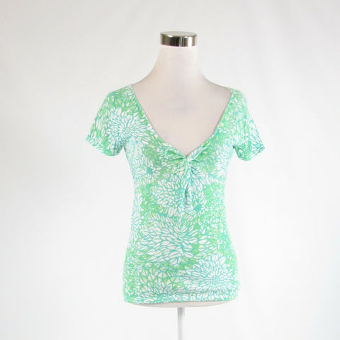Teal green white floral print 100% cotton HAROLD'S short sleeve knit blouse S