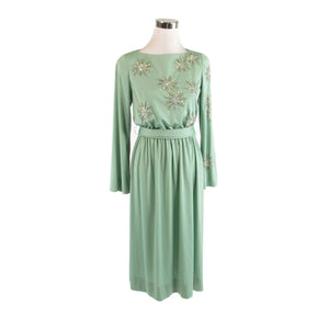 Light green DONCASTER long sleeve stretch rhinestone trim vintage dress 10