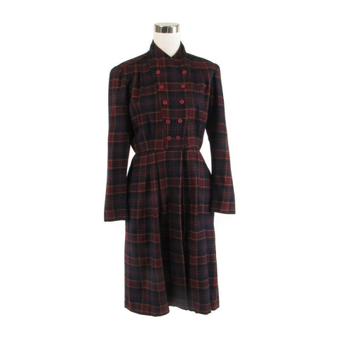 Maroon red blue plaid 100% wool vintage long sleeve A-line dress S