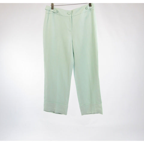 Light green linen blend ANN TAYLOR LOFT cuffed hem skinny cropped capri pants 6