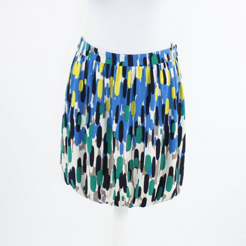 Blue ivory green yellow geometric stretch TIBI above knee bubble skirt 6