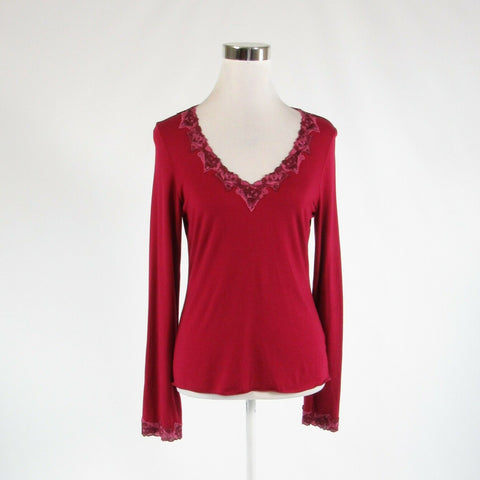 Maroon red pink BANANA REPUBLIC stretch long sleeve knit blouse M-Newish
