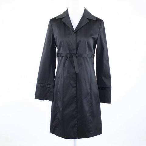Black cotton blend NINE WEST bow waist long sleeve coat S-Newish