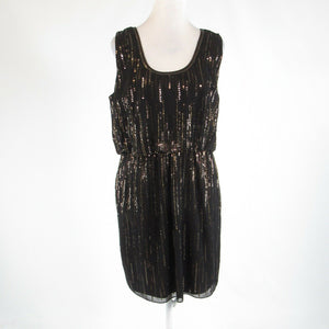 Black gold MONSOON sequin sheer overlay sleeveless A-line dress 12 NWOT