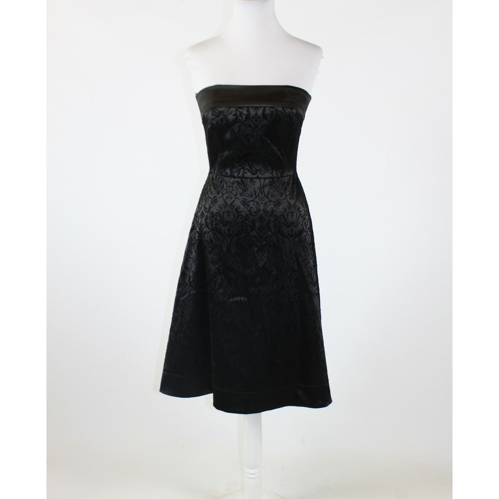 Black burnt out velvet WHITE HOUSE BLACK MARKET strapless A-line dress 0