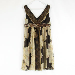 Brown beige floral print ADRIANNA PAPELL empire waist dress 10 NWT $160.00