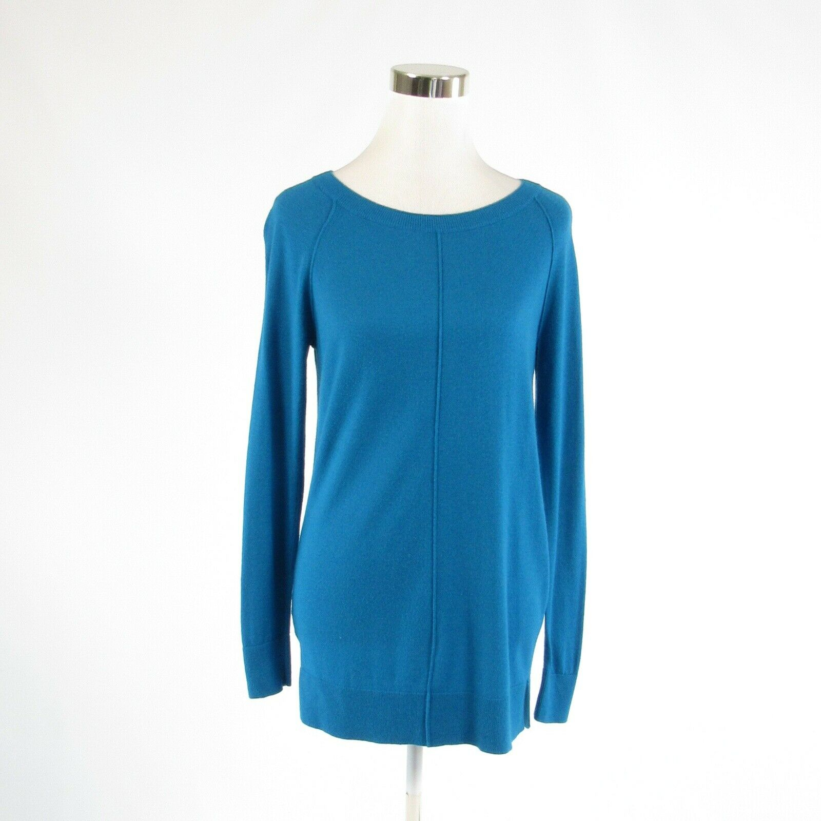 Dark blue ANN TAYLOR exposed seams long sleeve crewneck sweater S-Newish