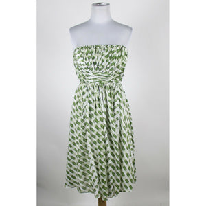 SUZI CHIN FOR MAGGY BOUTIQUE white & green print cotton silk strapless dress 2-Newish