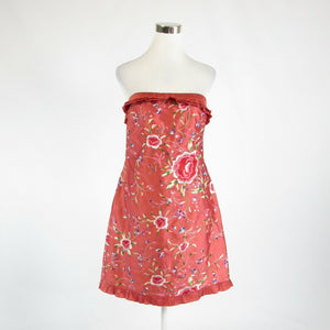 Salmon pink floral print 100% silk FIORI DI ZUCCA strapless sheath dress 8-Newish