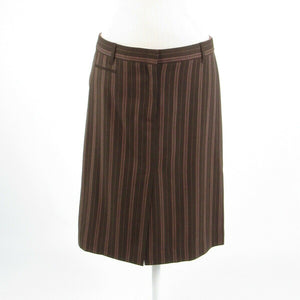 Brown pink uneven striped wool blend BCBG MAX AZRIA pencil skirt 6