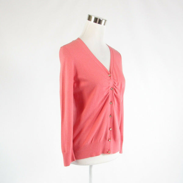Salmon pink cotton blend TALBOTS rhinestone trim 3/4 sleeve cardigan sweater M