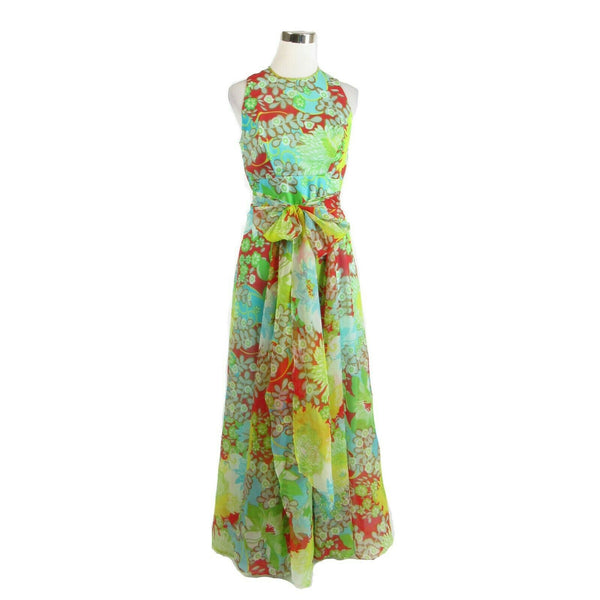 Red yellow blue floral print sleeveless maxi dress vintage dress M-Newish