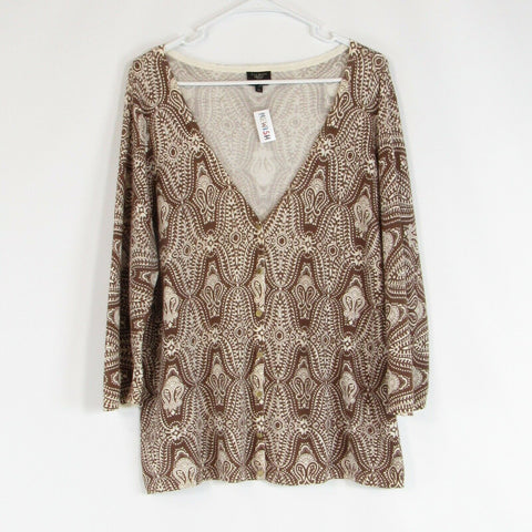 Brown ivory paisley TALBOTS cardigan sweater PXL